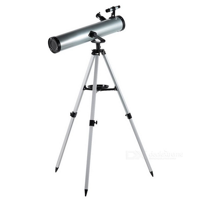 F70076 Outdoor 350X Astronomical Telescope for Camping - SilverBinoculars And Telescopes<br>Form  ColorSilver + Black + Multi-ColoredModelF70076Quantity1 DX.PCM.Model.AttributeModel.UnitMaterialAluminum alloy + ABSBest UseCamping,Mountaineering,TravelFeatureAstronomical telescopeMagnificationOthers,350XObjective Diameter76mmEye Relief0mmCertificationCEOther FeaturesReflective focal length: 700mm; Tripod height: about 1.5m (2 section)Packing List1 * Telescope1 * Set of bracket1 * English user manual<br>