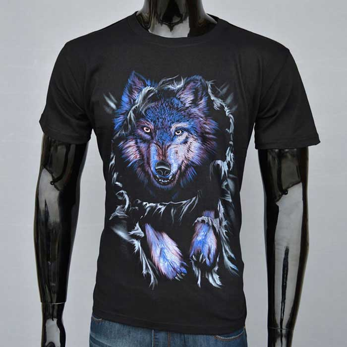 J1037 Men's 3D Wolf Printing Round-Neck Short-Sleeve T-shirt - Black