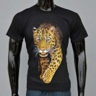 Outdoor Sports Leopard Pattern Sweat Absorption Cotton T-shirt (S)