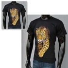 J1014 Men's 3D Printing Round-Neck Short-Sleeve T-shirt - Black