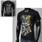 J1003 Men's 3D Printing Round-Neck Short-Sleeve T-shirt - Black