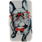 SZKINSTON Glass Dog Animal Pattern PU Case for IPHONE 6/6S - Black