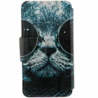 Kinston Sunglass Cat Pattern PU Case for IPHONE 6 / 6S - Black + White