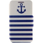 SZKINSTON Anchor Naval Pattern PU Case for IPHONE 6/6S - White + Blue