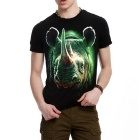 J1154 Men's 3D Printing Round-Neck T-shirt - Black (XL)