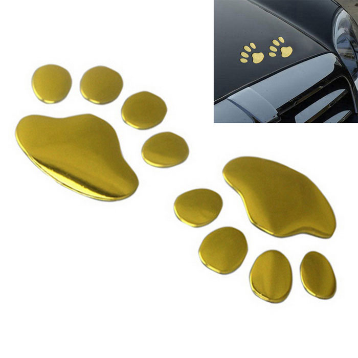 ZIQIAO Funny Bear Paw Pet Animal Footprint 3D Car Stickers - Golden