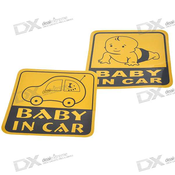 Light Reflective Baby in Car Stickers (4-Pack)