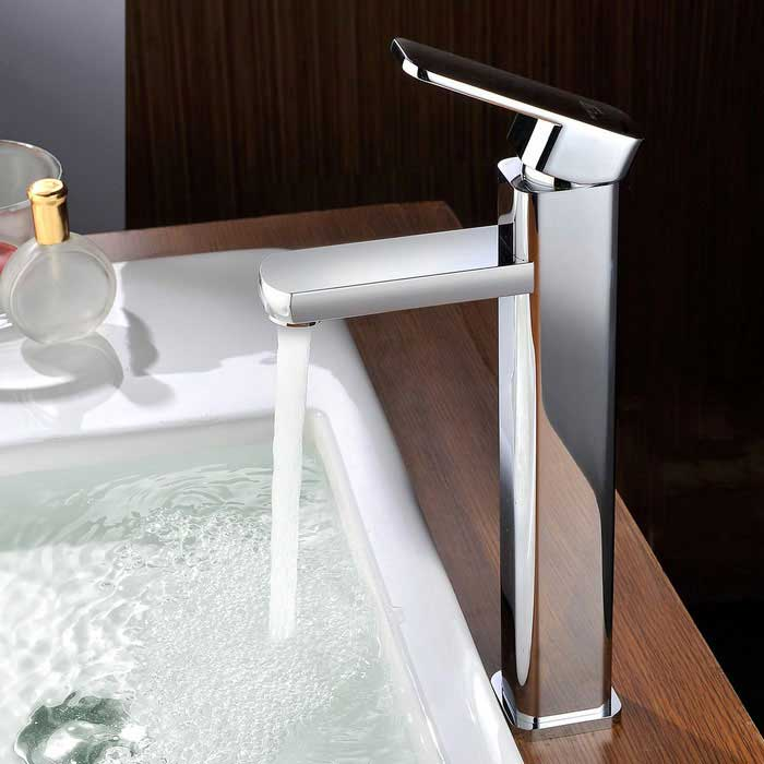 Simple Fashion Style Chrome Brass Bathroom Faucet - Silver
