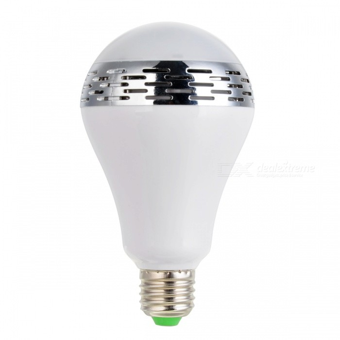 E-SMARTER E27 5W Smart Speaker RGB Music Light Bulb - WhiteSmart Lighting<br>Color BINRGBMaterialPlasticForm  ColorWhiteQuantity1 DX.PCM.Model.AttributeModel.UnitPower5WRated VoltageOthers,AC 100~245 DX.PCM.Model.AttributeModel.UnitConnector TypeE27Emitter TypeOthers,5730Total Emitters10Actual Lumens240-400 DX.PCM.Model.AttributeModel.UnitColor Temperature12000K,Others,-DimmableYesPacking List1 * Music Light Bulb<br>
