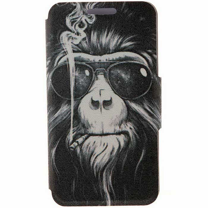 SZKINSTON Smoking Monkey PU Leather Case for IPHONE 6/6S Plus - Black