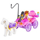 Assembléia Estilo Carriage Princesa Building Blocks Toy - branco + rosa
