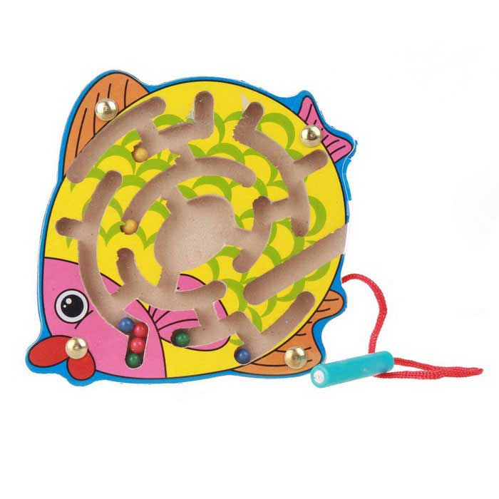 Fish Style Puzzle Magnetic Maze Walk Bead Building Block Toy - Yellow