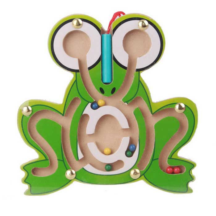 Frog Style Puzzle Magnetic Maze Walk Bead Building Block Toy - GreenEducational Toys<br>Form  ColorWhite + Green + Multi-ColoredMaterialWood + magnetQuantity1 DX.PCM.Model.AttributeModel.UnitSuitable Age 3-4 years,5-7 years,8-11 years,12-15 years,Grown upsPacking List1 * Frog template (including 8 * iron beads; 1 * magnetic pen)<br>
