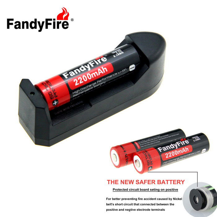 FandyFire US Plugss Charger + 3.7V 2200mAh 18650 Battery - Black + Red
