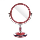 Round Shaped Double-Sided Toilet Glass Mirror - Silver + Red