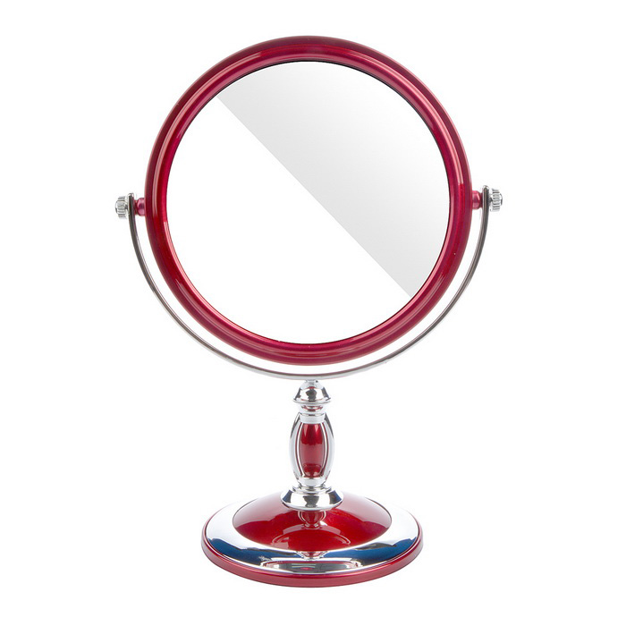 Round Shaped Double-Sided Toilet Glass Mirror - Silver + Wine Red