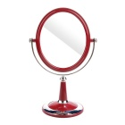 Retro Oval Shaped Double-Sided Toilet Glass Mirror - Silver + Wine Red