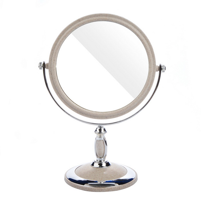 Oval Shaped Stone Pattern Double-Sided Mirror - Silver + Grey