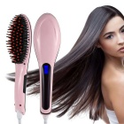 Professional Automatic Straightening Iron Hair Comb Brush - Pink