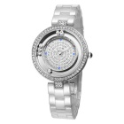 WeiQin 393501 Rolling Rhinestones Dial Ceramic Watch - White + Silver