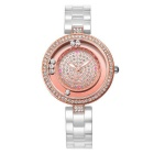 WeiQin 393503 Rolling Rhinestones Dial Ceramic Watch - Rose Gold
