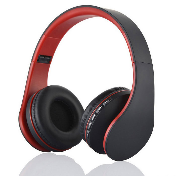 4-in-1 Multifunctional Wireless Stereo Bluetooth Headset - Black + Red