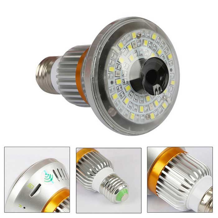 HD960P DIY Warm Light Bulb Wireless IP Camera - Gold + Silver