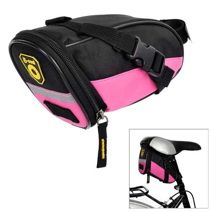 B-SOUL Outdoor Ciclismo Oxford bicicleta com zíper Saddle Bag - Black + rosa