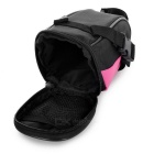 B-SOUL Outdoor Cycling Oxford Bike Zippered Saddle Bag - Black + Pink