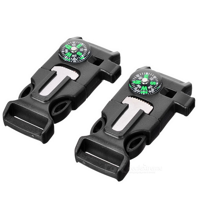 Outdoor Survival Tool Multifunctional Whistle - Black (2PCS)