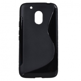 """""""S"""" Style Protective TPU Back Case for MOTO G4 Play - Black"""