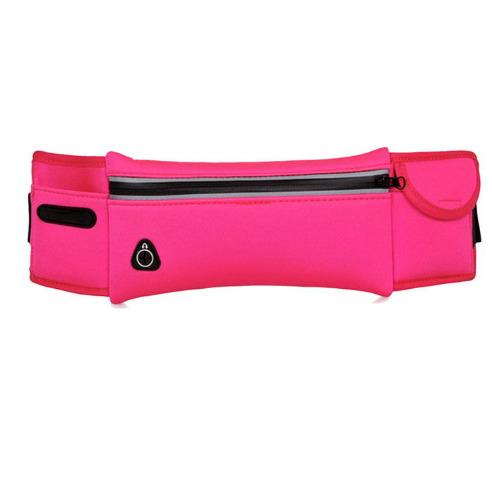 Outdoor Running Sports Chest Bag Waistbag w/ Earphone Hole - Dark Pink