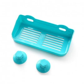 Dual Suction Cups Bathroom Toilet Cosmetic Storage Rack - Blue