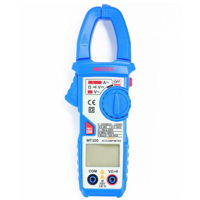 MESTEK MT100 Smart AC Digital Clamp Meter w/ NCV Detection - BlueMultimeters<br>Form  ColorBlue + Grey + Multi-ColoredModelMT100Quantity1 DX.PCM.Model.AttributeModel.UnitMaterialABS+PVCScreen Size1.5 DX.PCM.Model.AttributeModel.UnitMax. Display5999DC Voltage0~600V±(0.5%+3);AC Voltage1~ 600V±(0.8%+5);AC Current10mA~400A±(2.5%+5);400A~600A±(3%+5);Resistance0~10M±(0.8%+3);Frequency Accuracy40Hz ~ 1000Hz ±1%;Transistor TestNoTemperature TestNoFrequency TestYesPower Consumption TestNoShort-Circuit ProtectionYesShort Curcuit BuzzYesAuto Power OffYesPowered ByAAA BatteryBattery Number2Battery included or notNoOther FeaturesLow-Pass Filter; <br>Data Hold; <br>Backlight; <br>NCV; <br>Low Battery Indication; <br>Auto Power Off; <br>Dual Display; <br>Peak Value Measurement.CertificationCE, RoHSPacking List1 * MESTEK MT100 Smart Digital AC Clamp Meter2 * Test Cable (Red &amp; Black)1 * English Manual<br>