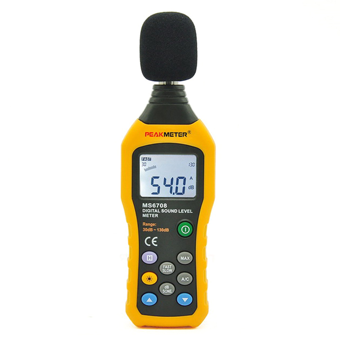 PEAKMETER MS6708 Digital Sound Level Meter 30~130dBA &amp; 35~130dBCTesters &amp; Detectors<br>Form  ColorOrange + Black + Multi-ColoredModelMS6708Quantity1 DX.PCM.Model.AttributeModel.UnitMaterialABS + PVCScreen Size1.68 DX.PCM.Model.AttributeModel.UnitPowered ByAAA BatteryBattery Number4Battery included or notNoOther FeaturesSound pressure accuracy: ± 1.5 dB (sound pressure standard, 94 dB @ 1KHz). <br>Sound pressure accuracy: ±5 dB (sound pressure standard, 94 dB @ 8KHz). <br>Sound pressure frequency response: 30Hz~8KHz. <br>Dynamic range of sound pressure: 50 dB (for each measurement gear level). <br>Sound pressure measurement scope: 30-130 dB A, 35-130 dB C. <br>Sound pressure frequency weighting characteristics: A and C characteristics. <br>Dynamic characteristic of sound pressure: FAST 125ms, SLOW 1sec <br>Microphone: polarized capacitive microphone. <br>Digital display: 4-digit, resolution: 0.1 dB, sampling rate: 2 times/sec. <br>Analog bar display: Each analog bar represents 1 dB, sampling rate is 20times/sec. <br>Measurement gear level: 30-80 dB, 40-90 dB, 50-100 dB, 60110 dB, 70120 dB,80-130 dB, 6 gear levels in total. <br>Automatic shifting gear level: microcomputer will automatically select the bestgear level in the range from 30 to 130 dB. <br>Below or above limit prompt: indicated with UNDER or OVER display.CertificationCE, RoHSPacking List1 * PEAKMETER MS6708 Digital Sound Level Meter1 * English Manual1 * Carrying Bag<br>