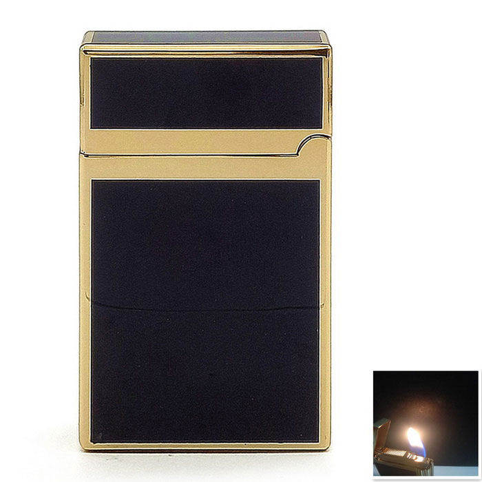 Classic Quality Zinc Alloy Butane Gas Jet Lighter - Black + Golden