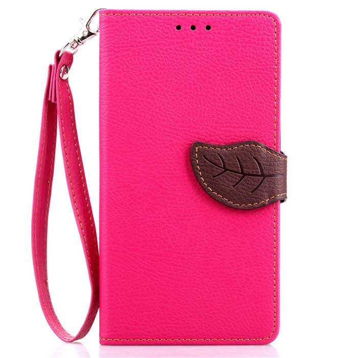 Lychee Pattern Protective PU Flip-Open Case for LG G4 - Deep Pink