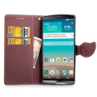 PU Magnetic Flip-Open Wallet Case w/ Strap for LG G4 - Brown