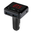 Wireless Bluetooth LCD FM Transmitter/Modulator USB Car Charger -Black