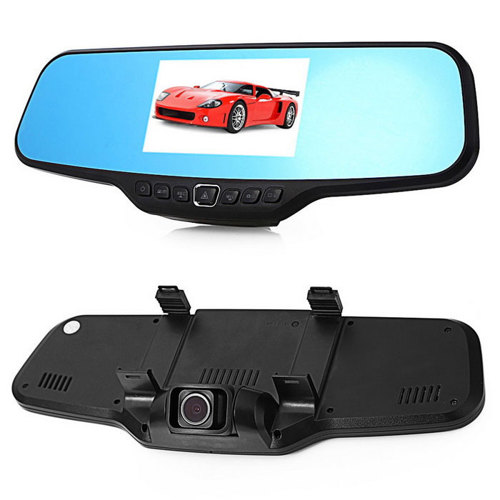 4.3 TFT CMOS 5.0MP + 1.3MP Rearview Mirror Car DVR Camcorder - BlackCar DVRs<br>Form  ColorBlackModelC20Quantity1 DX.PCM.Model.AttributeModel.UnitMaterialABSChipsetOthers,generalplus 2248Screen Size4-4.9Other FeaturesMotion Detection,After Camera,Loop RecordScreen Resolution:1920 x 1080 DX.PCM.Model.AttributeModel.UnitVideo Resolution1920 x 1080,1280 x 720 DX.PCM.Model.AttributeModel.UnitWide Angle120°-149° DX.PCM.Model.AttributeModel.UnitCamera Lens2Image SensorCMOSImage Sensor Size1/2.7 inchesCamera Pixel5.0MPExternal Camera PixelOthers,1.3MPWide AngleOthers,120 degreeOptical ZoomNoScreen TypeTFTScreen SizeOthers,4.3ISOOthers,100   200   400Exposure CompensationOthers,+2.0 +5/3 +4/3 +1.0 +2/3 +1/3 +0.0 -1/3 -2/3 -1.0 -4/3 -5/3 -2.0White Balance ModeAutoVideo FormatAVIDecode FormatOthers,MJPGVideo Resolution720P(1280 x 720),1080FHD(1920 x 1080),VGA(640 x 480),WVGA(848 x 480)Video Frame Rate30ImagesJPEGStill Image Resolution12M 4032x3024,8M 3264x2448,5M 2592x1944,3M 2048x1536,Others,1.3M VGA 2MHDMicrophoneYesMotion DetectionYesAuto-Power OnYesLED QtyNoneIR Night VisionNoG-sensorNoLoop RecordOthers,1 / 2 / 3 / 5Time StampYes (ON Or OFF)Built-in Memory / RAMNoMax. Capacity32GBStorage ExpansionTFAV InterfaceOthers,NOData interfaceMini USBWorking Voltage   5 DX.PCM.Model.AttributeModel.UnitBattery Capacity280 DX.PCM.Model.AttributeModel.UnitWorking Time8 DX.PCM.Model.AttributeModel.UnitMenu LanguageEnglish,French,German,Italian,Portuguese,Russian,Japanese,Korean,Chinese Simplified,Chinese TraditionalPacking List1 * Rearview mirror 1 * Car charger (300cm)1 * Rear camera 1 * Camera cable1 * USB cable (50cm)1 * English user manual1 * Silicone stand1 * Card reader<br>