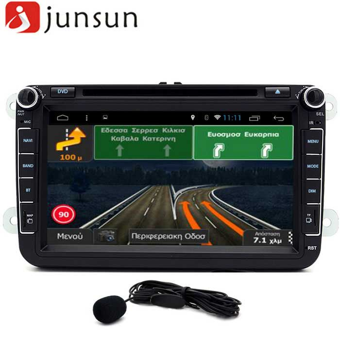 Junsun R168-D 8 Touch Quad-Core 1024*600 Car DVD Player w/ Russia MapCar DVD Players<br>Form  ColorRussiaModeljunsunR168-DQuantity1 DX.PCM.Model.AttributeModel.UnitMaterialCompositesStyle2 Din In-DashFunctionGPS,Dual Zone,Subwoofer Output,Analog TV,Radio,AV-IN,Steering Wheel ControlCompatible MakeBMW,Honda,Toyota,VW,Benz,Hyundai,Buick,Audi,Ford,Volvo,Chevrolet,UniversalCompatible Car ModelVW GOLF 4 5 Polo Bora CC JETTA PASSAT Tiguan SKODACompatible Year2000,2001,2002,2003,2004,2005,2006,2007,2008,2009,2010,2011,2012,2013Screen Size8.0 inchesScreen Resolution1024*600Touch Screen TypeYesDetachable PanelNoBrightness ControlYesMenu LanguageEnglish,French,German,Italian,Spanish,Portuguese,Russian,Arabic,Turkish,JapaneseCPU ProcessorR16 1.6GHz Quad-CoreSupport MapIGO,Route66,TOMTOM,Garmin,Sygic,CarelandMain FrequencyOthers,1.6 DX.PCM.Model.AttributeModel.UnitStore CapacityOthers,1 DX.PCM.Model.AttributeModel.UnitMemory Card SlotStandard TF CardVoice Guidance CruiseYesGPS Dual ZoneYesOperating SystemOthers,Android 4.4Audio FormatsMP3,WMA,APEVideo FormatsRM,RMVB,AVI,MOV,HDMOV,MP4,PMP,AVC,VOB,MPG,MPEG,MPEG1,MPEG2,MPEG4,WMVPicture FormatsJPEG,PNG,GIFStation Preset Qty.30Support RDSNoRadio Response BandwidthAM: 520KHz-1700KHz,FM: 87MHz-110MHzRDSYesRadio TunerAM,FMBuilt-in MicrophoneYesBluetooth FunctionReceived Call,Dialled Call,Missed CallBluetooth VersionBluetooth V4.0Video OutputPAL,NTSC,HDMIAmplifier Peak Power4*45 DX.PCM.Model.AttributeModel.UnitAudio ModeNatural,Rock,Jazz,Classical,Live,Dancing,PopularAudio Input2 channelsAudio  Output2 ChannelsRearview Camera InputYesExternal Memory Max. Support32 DX.PCM.Model.AttributeModel.UnitVideo Input2 channelsVideo Output2 channelsWorking Voltage   12 DX.PCM.Model.AttributeModel.UnitWorking Temperature+60~35 DX.PCM.Model.AttributeModel.UnitStorage Temperature+30~20CPacking List1 * Host2 * Power cords (small head wire:23cm, big Head wire: 24cm)1 * Protocol box1 * Remote Control (requires a button battery)1 * External microphone (300cm)1 * GPS antenna (300cm)1 * Manual (English)<br>