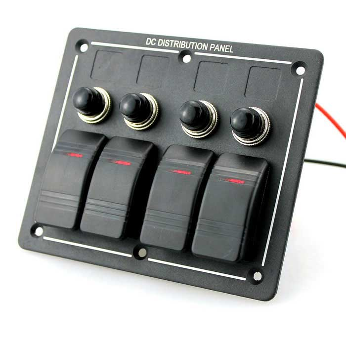 4 Gang alumínio LED impermeável Rocker Switch Panel & Circuit Breaker