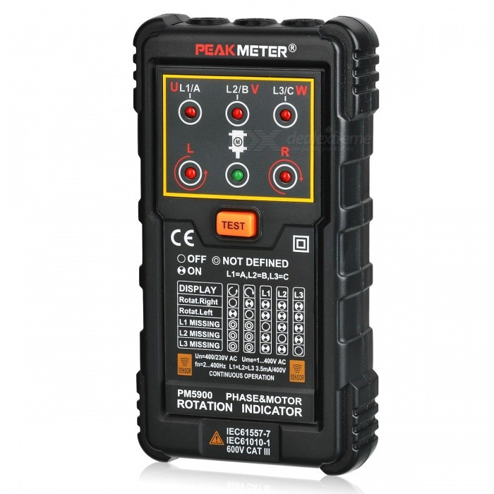 PEAKMETER PM5900 Three Phase Rotation Indicator - BlackTesters &amp; Detectors<br>Form  ColorBlackModelPM5900Quantity1 pieceMaterialABS+PVCPowered ByOthers,9V 6F22Battery Number1Battery included or notNoOther FeaturesOperating Voltage: 120~400V AC<br>Current Consumption: 20mA<br>Frequency Range: 2Hz ~400HzCertificationCE, RoHSPacking List1 * PEAKMETER PM5900Three Phase Rotation Indicator1 * Portable bag3 * Test Cables (80cm)3 * Alligator clips1 * English user manual<br>