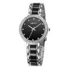 Weiqin Caso Shell Pedrinhas Decorado Dial Watch - preto + prata