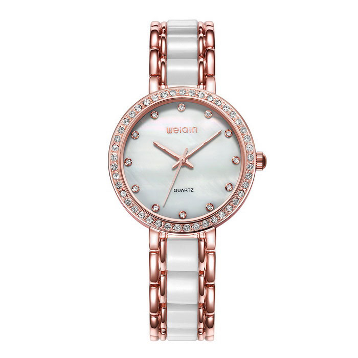 WeiQin 393405 Shell Case Rhinestones Decorated Dial Watch - Rose Gold