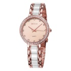WeiQin 393404 Shell Case Rhinestones Decorated Dial Watch - Rose Gold