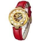 BUREI Hollow Automatic Mechanical Movement Rhinestone Dial Watch - Red