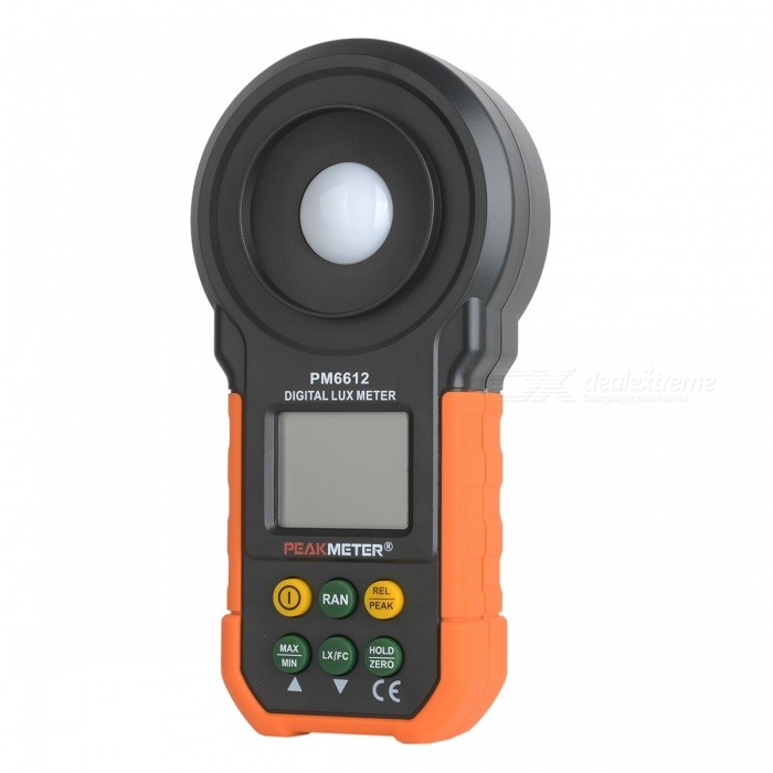 PEAKMETER MS6612 1.68 Digital Lux Meter (200000 Lux &amp; 200000 FC )Testers &amp; Detectors<br>Form  ColorOrange + Black + Multi-ColoredModelMS6612Quantity1 DX.PCM.Model.AttributeModel.UnitMaterialABS+PVCScreen Size1.68 DX.PCM.Model.AttributeModel.UnitPowered ByOthers,9V 6F22Battery Number1Battery included or notNoOther FeaturesDual Display;<br>Auto Range;<br>Auto Power Off;<br>MAX/MIN;<br>Peak Measurement;<br>FC/Lux Selection;<br>Data Hold;<br>Low Battery Indication.CertificationCE, RoHSPacking List1 * Digital Lux Meter1 * Carrying Bag1 * English Manual<br>