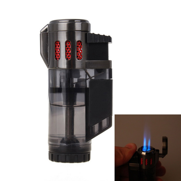 Portable Windproof Butane Gas Jet Lighter - Black