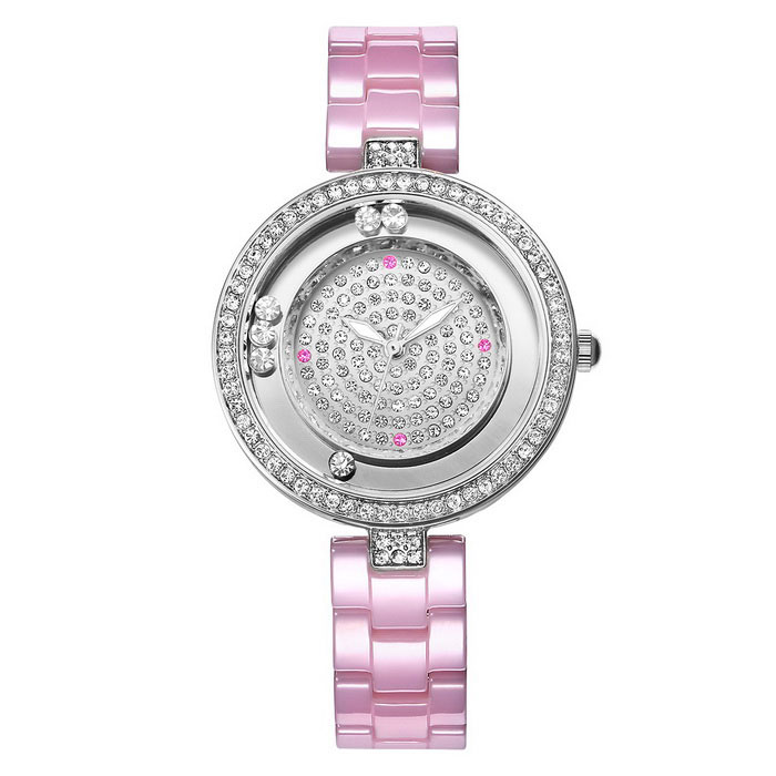 WeiQin 393502 Rolling Rhinestones Dial Ceramic Watch - Pink + White